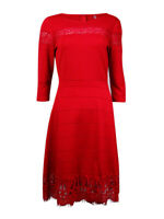 NY Collection Women's Long Sleeves Lace Trim Dress (XS, Red)