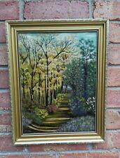 More details for impressionist oil painting. gold framed landscape. floral woodland walk