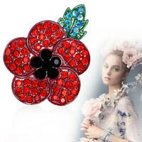 Poppy Red Flower Enamel Crystal Pins Poppies Brooch Enamel Badge Brooches Badges