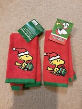 "2 PEANUTS WOODSTOCK CHRISTMAS HOLIDAY 11"" x 18"" FINGERTIP TOWELS NWT"