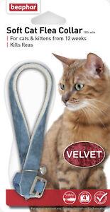 BEAPHAR VELVET SOFT CAT FLEA COLLAR 12 WEEK PROTECT WITH BELL