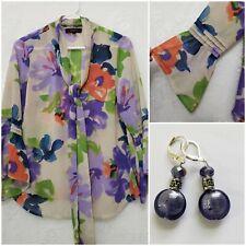 Jessica Simpson Womens MEDIUM Purple Tan floral Top Blouse  Bell Sleeve NeckTie
