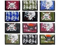 NEW Boys Teens KIDS Compact Nylon Tri-Fold WALLET Skull Collection 4 Colours