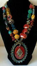"Treska Designed Statement Bead Pendant Necklace Multi-strand/color Victorian 21"""