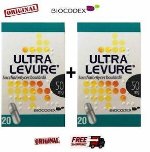 2 ULTRA LEVURE 50mg (FLORASTOR) Probiotics 1B.Live Saccharomyces Boulardii 2X20
