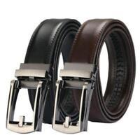 Men's Leather Belt Automatic Ratchet Click Lock Buckle Fashion Belt KV
