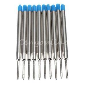 10Pcs Blue Ballpoint Pen Refills Fine Point Medium Standard for Parker Style Ink