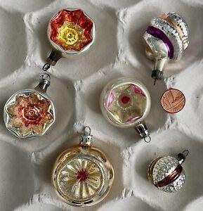 Vintage Retro Glass Baubles. Christmas Tree Decoration Ornaments Some Concave