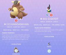 Kangaskhan #115 Chatot #441 Pokemon Go ✔Regional ✔Shiny Chance ✔100% Quick& Safe