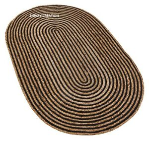 Rug 100% Natural Jute Reversible Handmade Oval Rug Modern Carpet living Area Rug