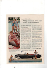 1959 FORD THUNDERBIRD CONVERTIBLE ANNE COLE COMMUTER CAR SWIMMERS AD PRINT E974