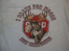 "Vintage New Hampshire ""I Brake for Moose"" Funny Wildlife T Shirt XL"