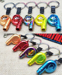 Real Whistle Sound Turbo Keychain Key Chain Ring Spinning Turbine Keyring Keyfob