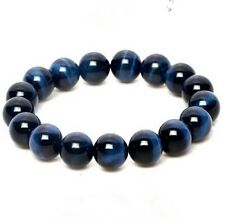 Natural 8mm Gemstone Blue Tigers Eye Stone Beads Woman Man Bracelet 7.5''