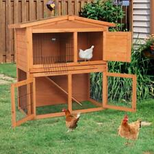 "40"" Fir Wood Rabbit Hutch Small Animal House Pet Cage Chicken Coop w/Run"