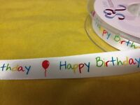 2 METRES HAPPY BIRTHDAY RIBBON CARD MAKING SEWING CRAFT EMBELLISHMENT