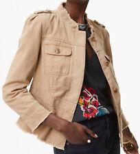 NWT Ann Taylor LOFT Frayed Cotton Twill Military Jacket Size XS