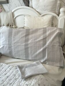 M&S Grey White Ticking Stripe Cotton Rich Pair Of Pillowcases Shabby Chic