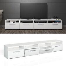 Meuble bas TV Armoire Table pour téléviseur Étagère Rack Blanc briquer 2-er