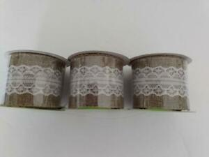 "3 Rolls  Burlap Ribbon Rolls with White Lace Trim  2"" x 3 Yards"