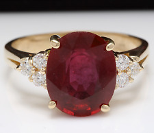 6.50 Carats Red Ruby and Diamond 14K Solid Yellow Gold Ring