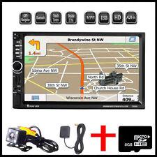 "Double 2 DIN Car 7"" Player Stereo FM Radio GPS Sat Nav Bluetooth USB AUX +Camera"