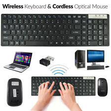 USB 2.4GHz Slim Wireless Keyboard and Cordless Mouse Combo Set For PC Laptop UK