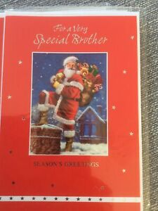 Lovely Traditional Santa Design Special Brother Christmas Card. Lovely Words.