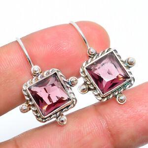 "Pink Amethyst (Lab) Pink Amethyst 925 Sterling Silver Bali Earring 1.09"" S2772"