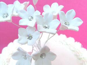12 Sugar Gum Paste White Stephanotis Cherry Blossoms Metallic Centers Flowers