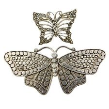 TWO (2) LOVELY VINTAGE 925 STERLING SILVER BUTTERFLY BROOCHES