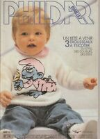CATALOGUE TRICOT Phildar Mailles Layette 1984 N°114  Stroumpfs