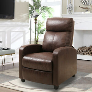 Recliner Chair Velvet Leather Sofa PushBack Adjustable Reclining Armchair Brown