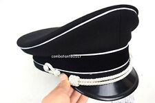 WW2 Germany Elite Officer Wool Hat&Cap Black W White Pipe Silver Chin Cord