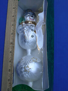 "VTG Germany Krebs Lauscha Blown Glass Snowman Xmas Tree Topper 12"" ornament rare"