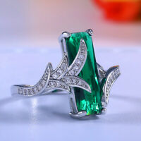 Gorgeous 925 Silver Wedding Rings for Women Emerald Cut Emerald Ring Size 6-10