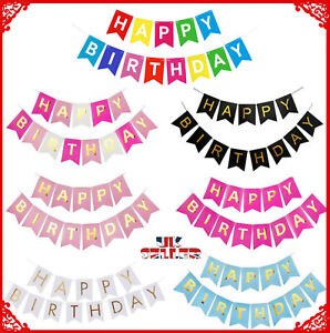 Happy Birthday Garland1s Bunting Banner Pastel Hanging Letters Party Decoration