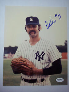 """DICK """"DIRT"""" TIDROW #19 NEW YORK YANKEES SIGNED AUTOGRAPHED 8X10 COLOR PHOTO JSA"""