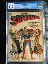 SUPERMAN #61 CGC FN/VF 7.0; White pg!; origin retold; 1st Kryptonite!