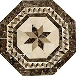 Brown Marble Dining Table Top Marquetry Art Patio Sofa Table for Home 30 Inches