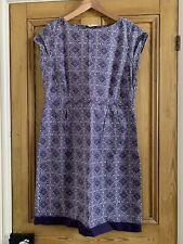 White Stuff Cotton Dress Purple Geometric Print UK Size 14 VGC