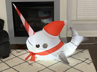 Gemmy Airblown Inflatable Narwhal With Santa Hat And Candy Cane Tusk Christmas