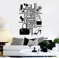 Vinyl Wall Decal Fashion Salon Woman Style Words Girl Stuff Stickers (ig4555)