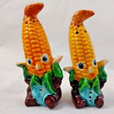 One Pair VTG Corn on The Cob Husk People Harvest JAPAN Salt & Pepper Shakers