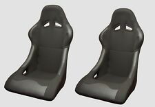 BUCKET SEATS BLACK BASE MOUNTED PAIR SPORTS RACING TRACK LIGHTWEIGHT