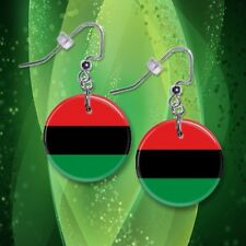 """**AFRICAN AMERICAN FLAG** 1"""" Button Dangle Earrings **FREE PIN** ~~USA Seller"""