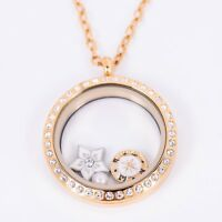 Floating Locket GOLD Stainless Steel Twist Off Crystal +Chain + Charms 30mm