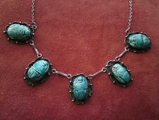 Art Deco Egyptian Revival Jewellery Silver Faience Beads Scarab Necklace signed