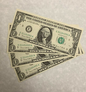 Lot of 4 Consec Serial Number $1 Dollar 1969 Richmond (E) Federal Reserve Notes*