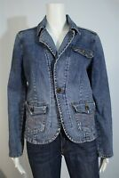 OTB One Tuff Babe Misses LARGE Light Wash Denim Blue Tailored Blazer Jacket
